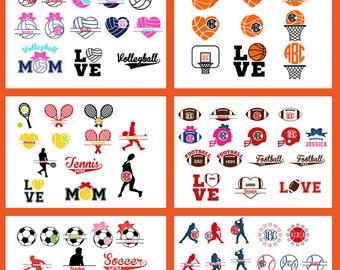 Sport Monogram Frames svg Bundle, pack of 10, monogram frame bundle, Soccer Basketball Tennis Football Softball SVG DXF png jpg eps.