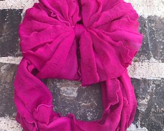 Fuchsia Ruffle Messy Bow Headband