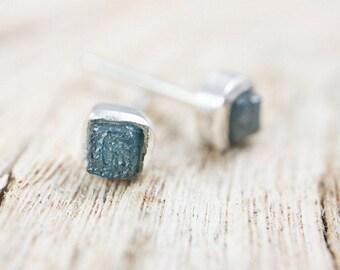 Dainty Raw Blue Diamond Solitaire Stud Earrings (Rough Cube Shape)