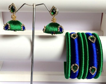 Beautiful Silk Thread Bangles with Matching Jhumki Earrings - Royal Blue & Green