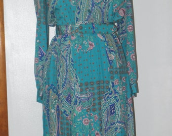 Leslie Fay Vintage 70's/ 80's Secretary Dress with Organ Pleated Skirt and Matching Belt
