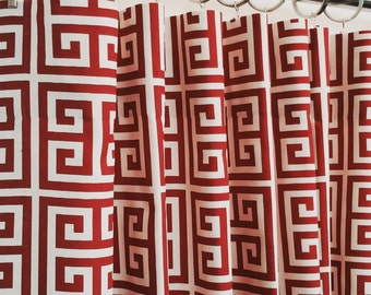 "SALE ~ Custom Designer Curtains Drapes Greek KeyPair ~ Red ~  50""W x 108""L FULLY LINED"