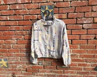 SALE! Tennis Time Jacket // 80s 90s Tennis Print Cotton Jacket Large XL