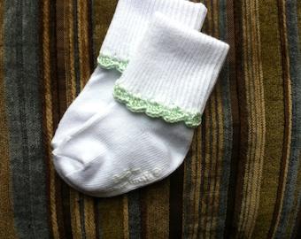 Baby girl socks - white with light green crochet trim
