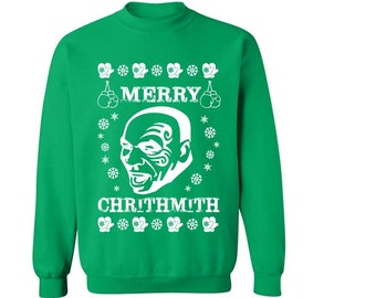 Mike Tyson christmas sweater Merry ChrithMith Christmas Sweater Sweatshirt Crew Neck Pullover