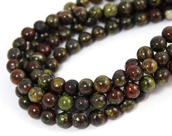 "Dragons Blood Jasper Beads 6mm, Two 15.5"" strands"