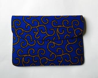 Blue Ankara Spirals Laptop Sleeve // African Print