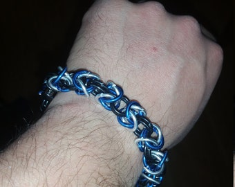 Black/Blue/Silver Aluminum Chainmaille Byzantine Weave Bracelet