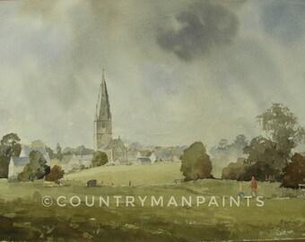 Olney River Meadows, River walk Olney Buck's, Olney Church, lounge art, dining room art, Olney watercolour print 12x18, ready to frame art