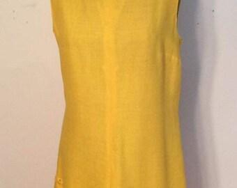 1960's bright yellow linen dress fancy cut out scalloped hemline summer spring theater costume