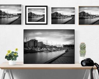 Sailboats Printable art, digital print, black and white photo, instant download, docked boats wall art, sailboat on water poster prints