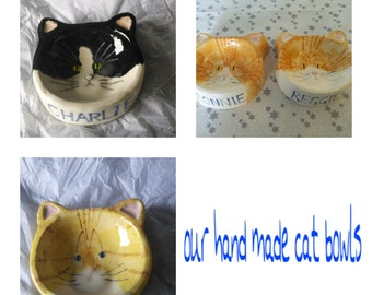 Custom, hand made, ceramic cat bowls