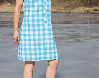 Vintage Plaid Midi Button Up Collar Shift Dress 60's Retro Boxy Sundress Medium