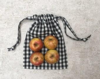 smallbags en tissu Vichy 7 couleurs - 3 tailles - sacs coton réutilisables - zéro déchet