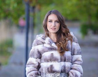 Mink black cross fur jacket! Latest fur fashion trends at FurBrand!