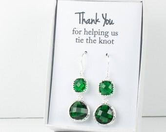 Long Emerald Silver Earrings, May Birthstone Earrings, Green Silver Earrings, Bridesmaid Earrings, Emerald Wedding Jewelry, Bridesmaid Gift