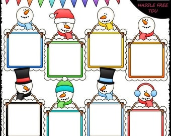 Snowman Message Boards Clip Art and B&W Set