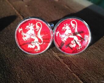 Lion Cufflinks for wedding, Silver Cufflinks, Norway Lion Postage Stamp, Red, Men, Postage Stamp Jewelry, Groomsmen, Handmade Jewelry