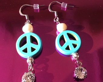 Swarovski and Turquoise Peace Earrings