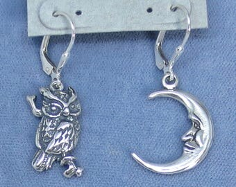 Sterling Silver Owl & Moon Leverback Earrings - 251208 - Free Shipping to the USA