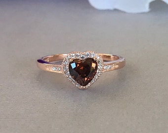 Heart Chocolate Brown Stone Rose Gold Simulated Diamond Sterling Silver Engagement Promise Ring, Simulated Chocolate Brown Diamond Ring