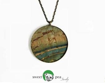Cork Pendant Necklace | Circle Necklace | 17 Different Colors