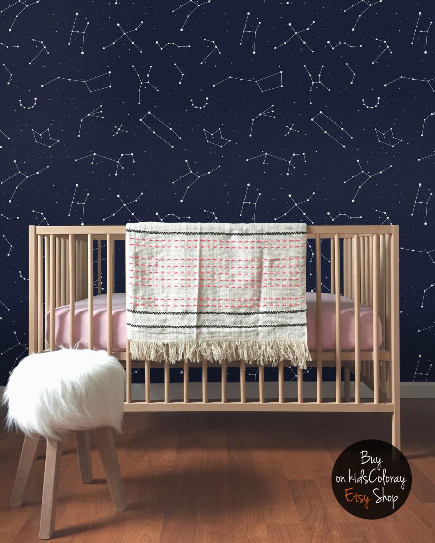 constellation wallpaper for walls constellations pattern kids room wallpaper dark and elegant