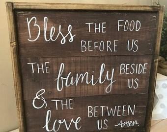 Framed Bless the Food before us Prayer