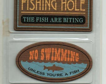 Fishing Chipboard Signs Karen Foster Scrapbook Embellishments Cardmaking Crafts Paper Piecing