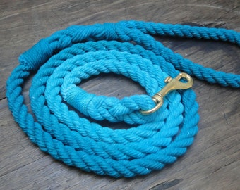 Blue Dog Leash, Cotton Dog Leash, Rope Dog Leash, Ombrè Rope Leash, Nautical Leash, Blue Leash, Blue Lagoon