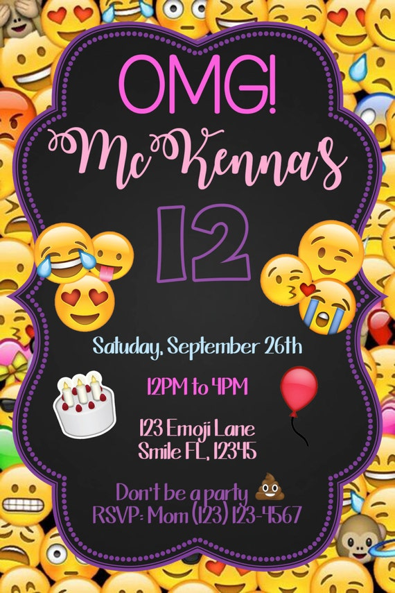 It is a graphic of Lucrative Printable Emoji Birthday Invitations