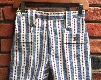 Women's 60s Blue And White Stripe Pattern Shorts With Pockets Size W26 Small