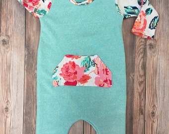 Mint Floral Romper, Baby Romper, Kids Romper, Pull On Romper, One Piece Outfit