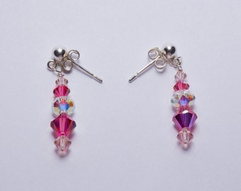 Pink Swarovski Post Earrings
