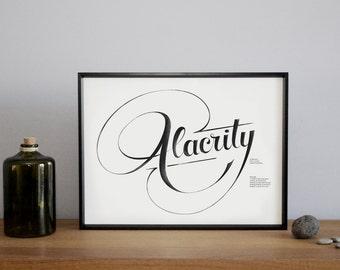 Alacrity, Wall Art, Art Print, Typographic print