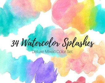 Watercolor splash clip art - Watercolor blobs - Rainbow Clip Art - Brush Strokes - Commercial Use