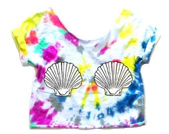 Mermaid Crop Top Mermaid shell shirt Mermaid seashells Women's Mermaid Tee Mermaid Shirt Music Festival Summer Mermaid Women's Shell tie dye