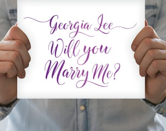 CUSTOM Watercolor Proposal - Will You Marry Me Sign - Purple Ombré Marriage Engagement - Choose Own Words & 3 Colors - PRINTED sign or PDF