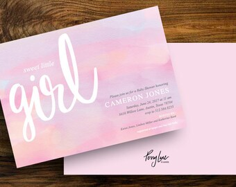 Baby Girl Shower Invitation || Digital Download || Watercolor Customizable Printable Invite