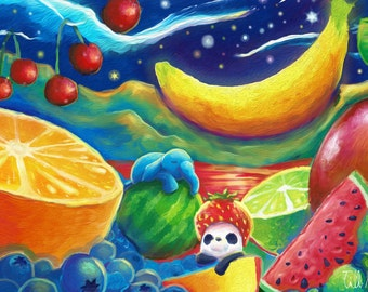 Elephant & Panda 'Fruit Salad' | Illustration | Print | Postcard | by hasetill
