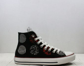 Twenty One Pilots Blurryface custom converse shoes with hand-painted design