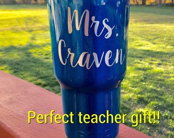 Personalized/Embedded RTIC 30oz Powder Coated Tumbler with Lid-Metallic Blue Or Pick your Color!  Perfect Teacher Gift!