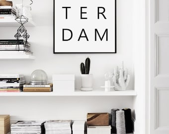 Amsterdam Print, Amsterdam City, Amsterdam, Amsterdam Poster, Black and White City, Netherlands, Holland