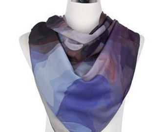 Multi Pattern Square Blue Scarf / Spring Summer Scarf / Womens Scarves / Gift for her / Handmade