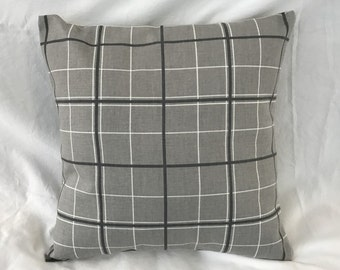 """Gray and Charcoal """"Windowpane"""" Plaid  Decorative Pillow Cover"""