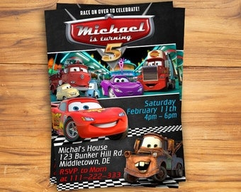Disney Cars Invitation - Cars Birthday Invitation - Disney Cars Birthday Party Printable Invites - Pixar Racing Lightening McQueen