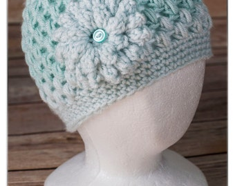 Crochet Puff Stitch Flower Hat, Cap, Beanie
