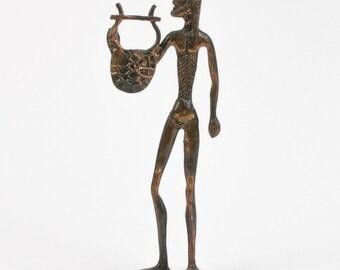 Tribal Metal Male Figure Statue//bookcase//collectors antiquity//decorator//unique