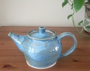Handmade Teapot, Stoneware blue Teapot, Ceramic Tea pot,Handthrown Pottery Teapot, Pottery Teapot