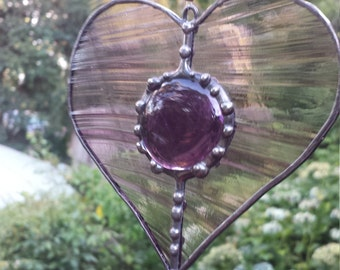 Stained Glass Purple Swirl Beaded Hanging Love Heart by Indigo Mood